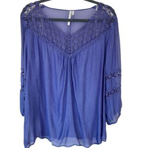 Grand & Greene semi sheer purple lace top,…